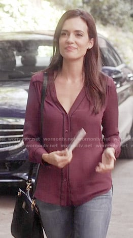 Melissa's burgundy button down blouse on Pretty Little Liars