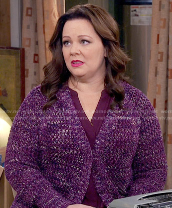 Molly's purple marled cardigan on Mike and Molly