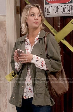 Penny's white floral shirt and green army jacket on The Big Bang Theory