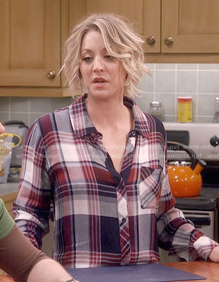 Penny's navy and red plaid shirt on The Big Bang Theory