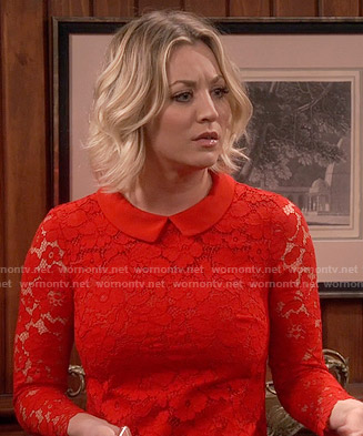 Penny's red collared lace dress on The Big Bang Theory