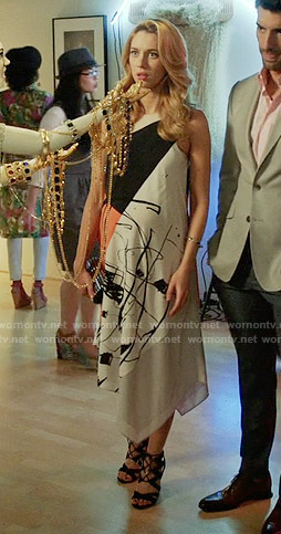 Petra's abstract print midi dress on Jane the Virgin