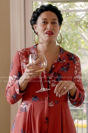 Rainbow's red floral maxi shirtdress on Blackish