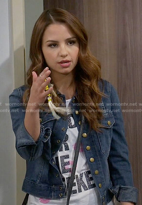 Sofia's denim jacket on Young and Hungry