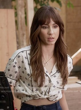 Spencer's cropped tie-front shirt on Pretty Little Liars