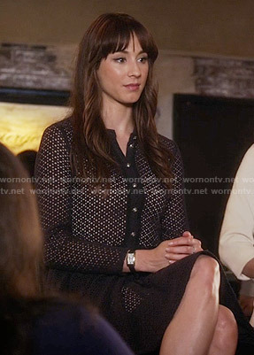Spencer's navy eyelet shirtdress on Pretty Little Liars