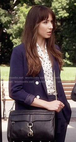 Spencer's white polka dot wrap top and navy suit on Pretty Little Liars