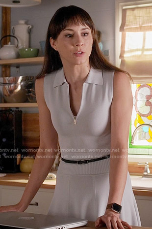 Spencer's grey zip-neck polo dress on Pretty Little Liars
