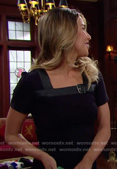 Steffy's black dress with leather buckled neckline on The Bold and the Beautiful