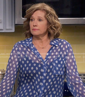 Vanessa's blue dotted print blouse on Last Man Standing