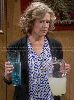 Vanessa's blue elephant print top on Last Man Standing