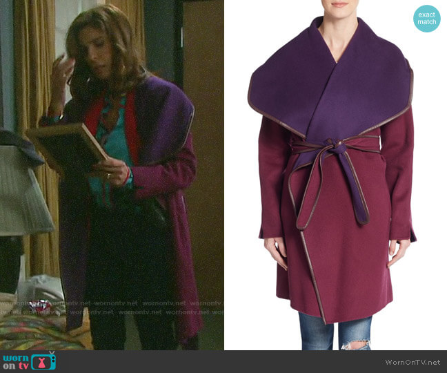 Vince Leather-trim Double-Face Wrap Coat worn by Hope Williams (Kristian Alfonso) on Days of our Lives