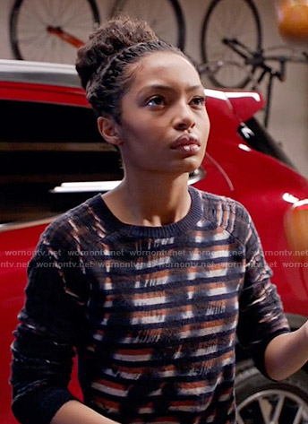 Zoey's stripe and paint print sweater on Black-ish