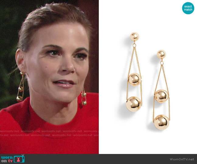 Halogen Triple Sphere Chain Drop Earrings worn by Phyllis Newman (Gina Tognoni) on The Young & the Restless