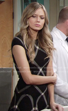Abby's black checked drop-waist dress on The Young and the Restless