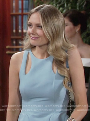 Abby's light blue dress with cutouts on The Young and the Restless