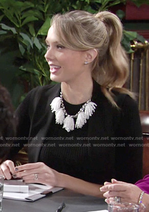 Abby's pearl tassel necklace on The Young and the Restless