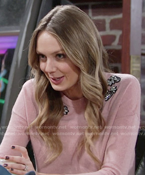Abby's pink embellished sweater on The Young and the Restless