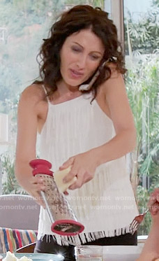 Abby's white fringed top on Girlfriends Guide to Divorce