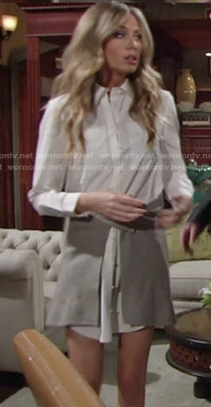 Abby's white shirtdress with pearl buttons and wrap skirt on The Young and the Restless