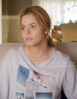 Ali's polaroid print sweater on Pretty Little Liars