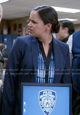 Amy's blue printed blouse on Brooklyn Nine-Nine