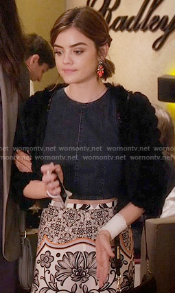 Aria's denim crop top and printed skirt on Pretty Little Liars