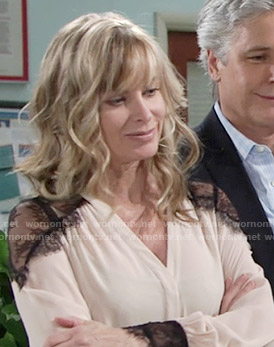 Ashley's beige blouse with black lace shoulders on The Young and the Restless