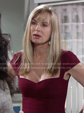 Ashley's burgundy cap sleeve dress on The Young and the Restless