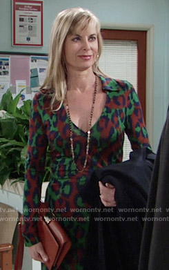 Ashley's green and brown leopard print dress on The Young and the Restless