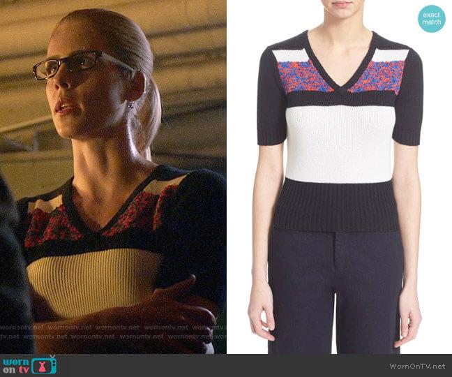 Carven Short Sleeve V-neck Sweater worn by Emily Bett Rickards on Arrow