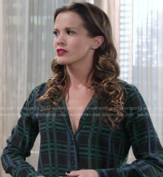 Chelsea's green and blue plaid shirt on The Young and the Restless