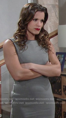 Chelsea's grey dress with black piping on The Young and the Restless