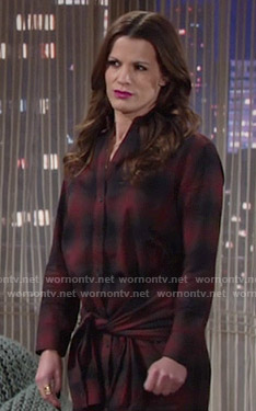 Chelsea's plaid shirtdress with tie waist on The Young and the Restless