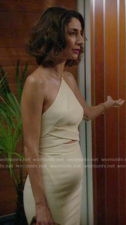 Delia's yellow halter top and skirt set on Girlfriends Guide to Divorce
