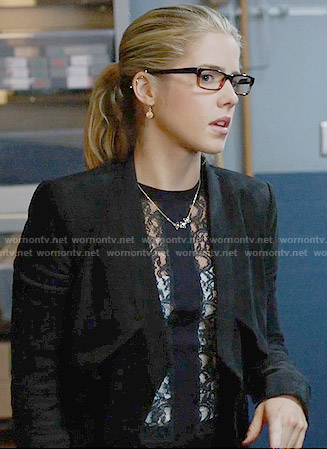 Felicity's lace stripe top and jacket on Arrow