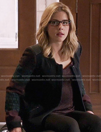 Felicity's navy coat with patterned sleeves on Arrow
