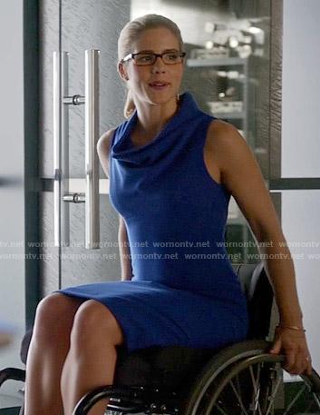 Felicity's blue cowl neck dress on Arrow