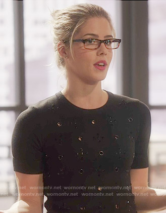 Felicity's black embellished eyelet top on Arrow