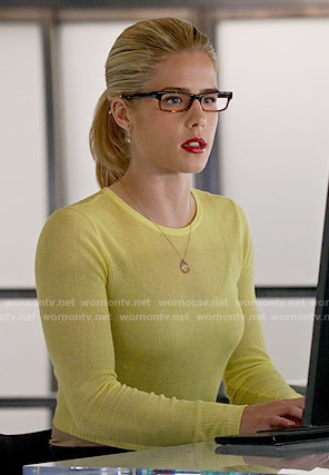 Felicity's yellow sweater on Arrow