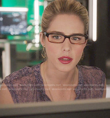 Felicity's purple textured print top on Arrow
