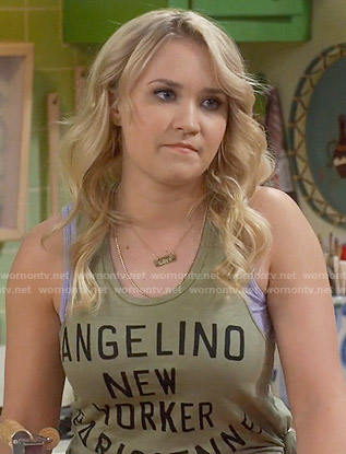 Gabi's olive green Angelino New Yorker Parisienne tank top on Young and Hungry
