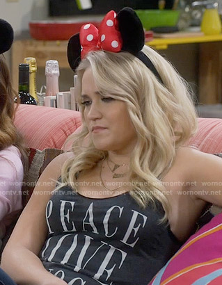 Gabi's Peace Love Yoga tank top on Young and Hungry