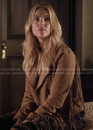 Hanna's suede fringed jacket on Pretty Little Liars