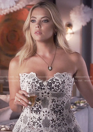 Hanna's white strapless lace dress on Pretty Little Liars