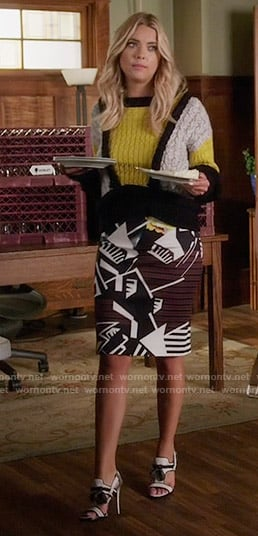 Hanna's yellow colorblock sweater on Pretty Little Liars