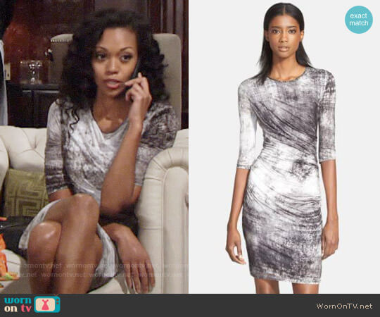 Helmut Lang Nova Abstract Pleated Sheath Dress worn by Mishael Morgan on The Young & the Restless