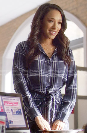 Iris's blue plaid tie-waist shirtdress on The Flash