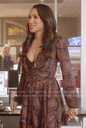 Iris's paisley print long sleeved dress on The Flash