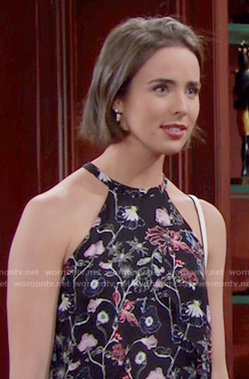 Ivy's black floral top on The Bold and the Beautiful